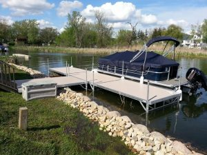 Residential boat docks in Chain o' Lakes, IL