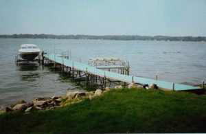 Aluminum boat docks on Sandusky Bay